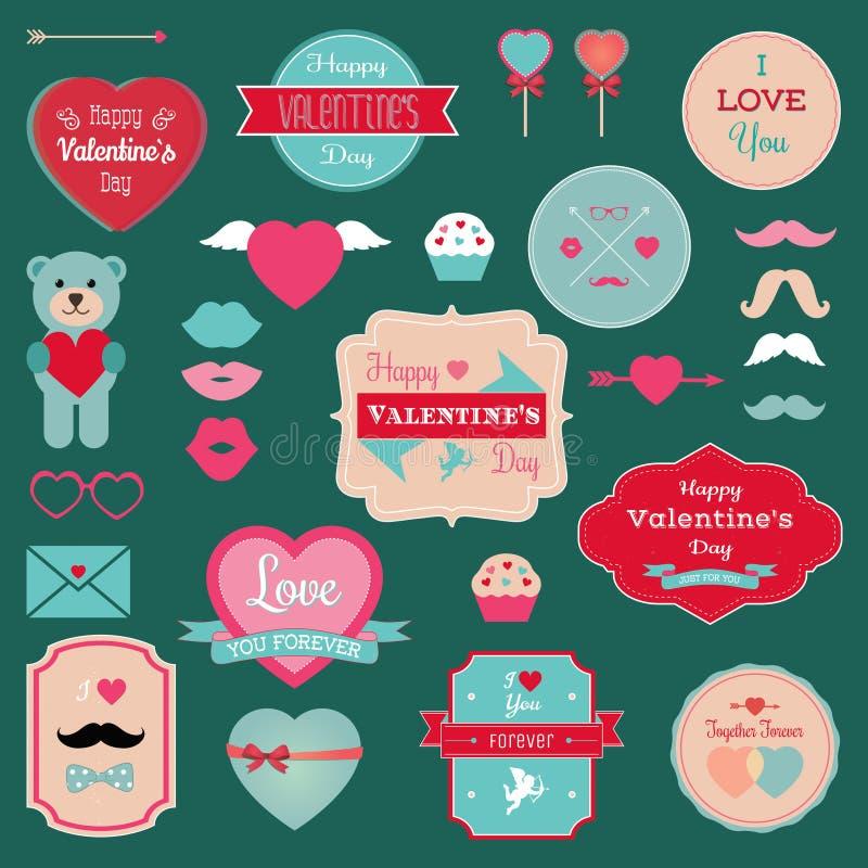 Insignias del día de tarjetas del día de San Valentín, iconos fijados ilustración del vector