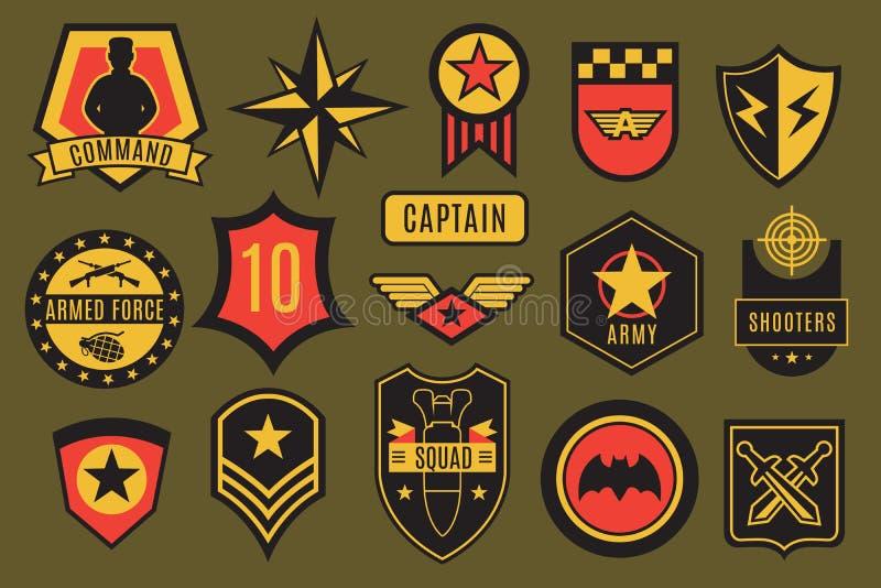 Insignias del ejército Remiendos militares de los E.E.U.U. y etiquetas aerotransportadas Galones del soldado americano con tipogr ilustración del vector
