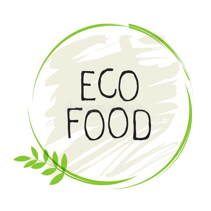 Insignias del etiqueta de la comida de Eco y de alta calidad del producto Bio org?nico sano, 100 bio e icono del producto natural ilustración del vector
