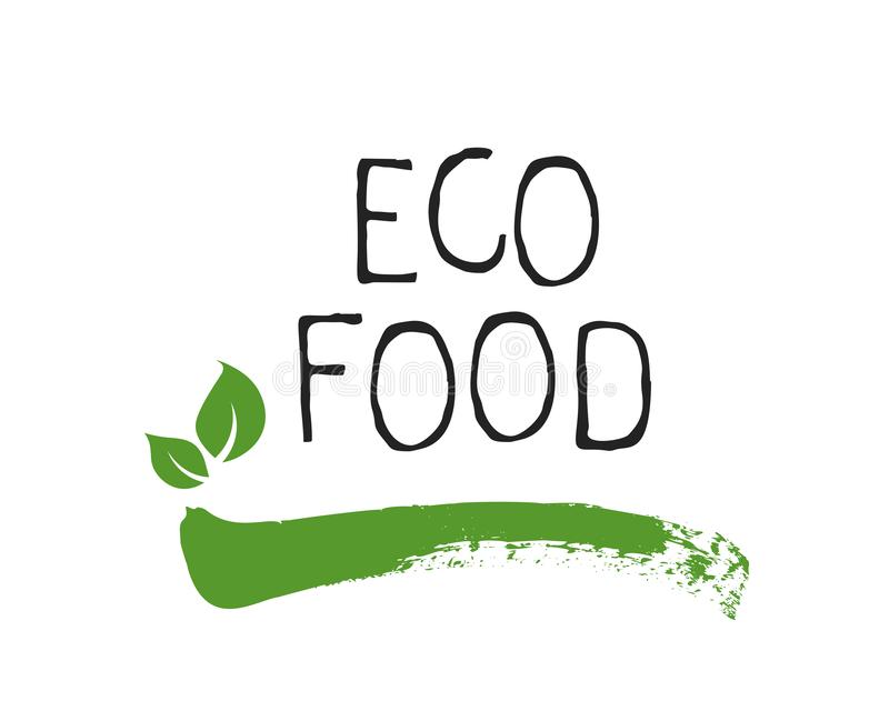 Insignias del etiqueta de la comida de Eco y de alta calidad del producto Bio org?nico sano, 100 bio e icono del producto natural libre illustration