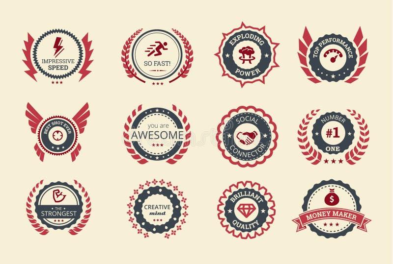 Insignias del logro stock de ilustración