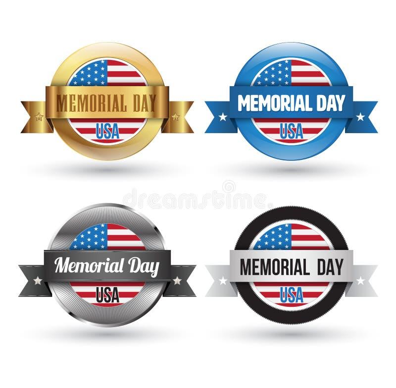Insignias del Memorial Day fijadas ilustración del vector
