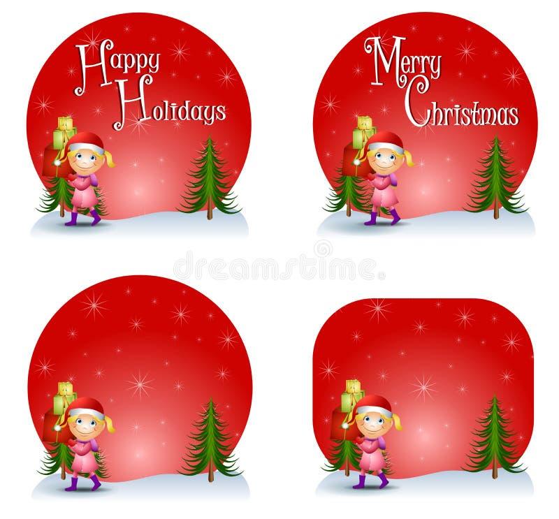 Insignias del regalo de la Navidad de la muchacha ilustración del vector