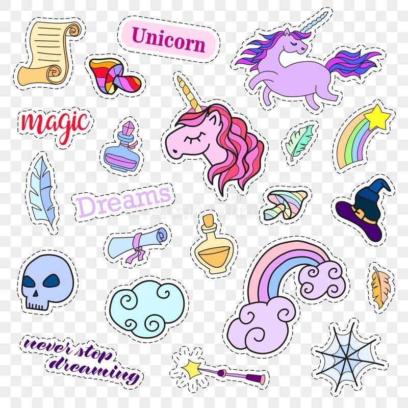 Insignias del remiendo de la moda Sistema de la magia Etiquetas engomadas, pernos, remiendos, colección linda con unicornio y arc stock de ilustración