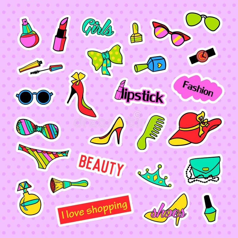 insignias del remiendo Sistema de la moda del arte pop Etiquetas engomadas, pernos, remiendos y colección manuscrita de las notas stock de ilustración
