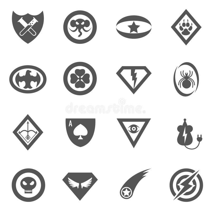 Insignias del vector del super héroe, emblemas, logotipos, iconos fijados libre illustration