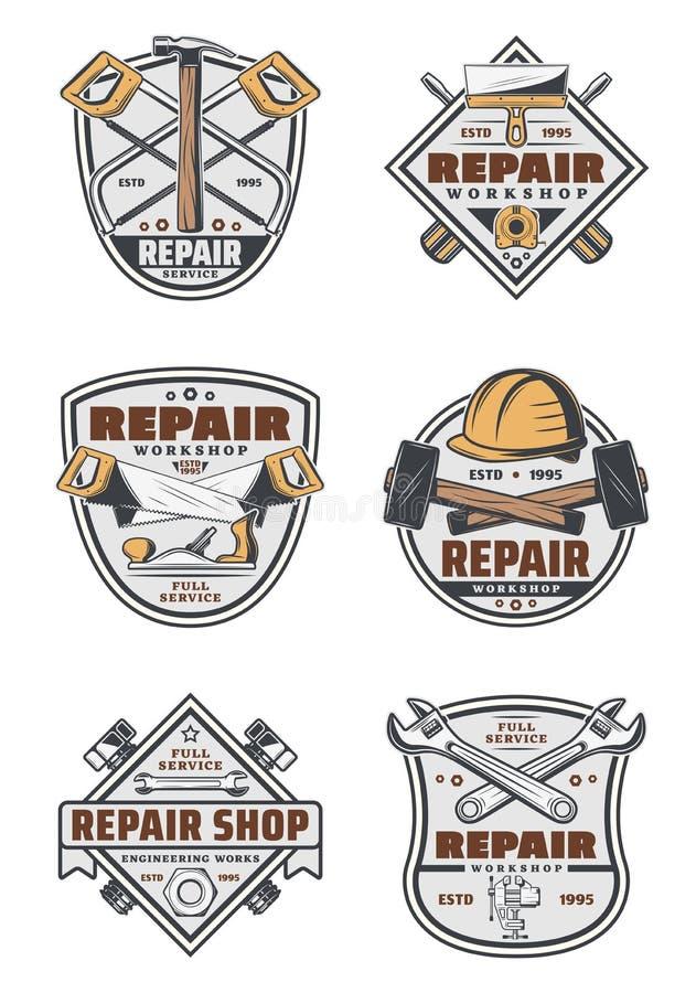 Insignias del vintage del servicio de reparación de la casa con las herramientas stock de ilustración