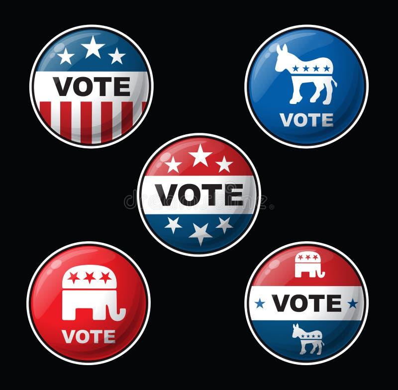 Insignias del voto - Partidos Republicanos y Democratic americanos stock de ilustración