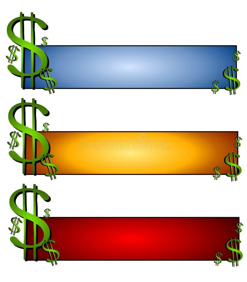 Insignias del Web page de las finanzas del dinero stock de ilustración