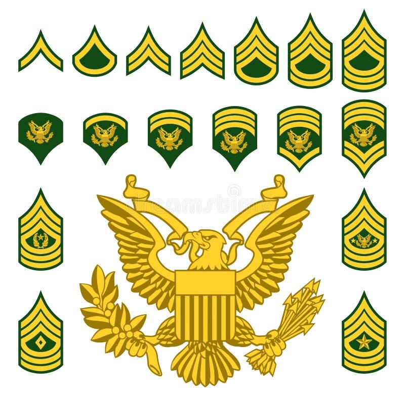Insignias espesas alistadas ejército militar libre illustration