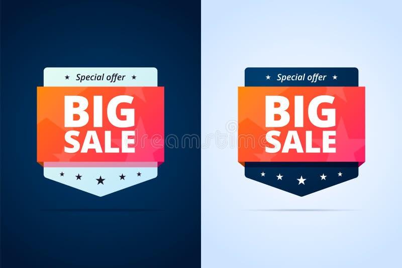 Insignias grandes de la venta stock de ilustración