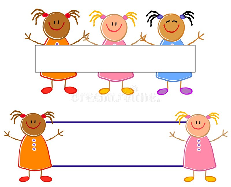 Insignias lindas de las muchachas del gráfico del niño stock de ilustración