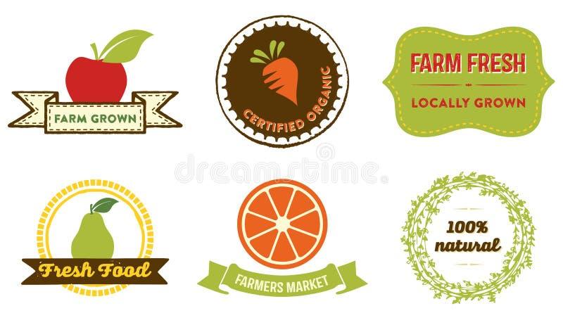 Insignias naturales de la comida ilustración del vector