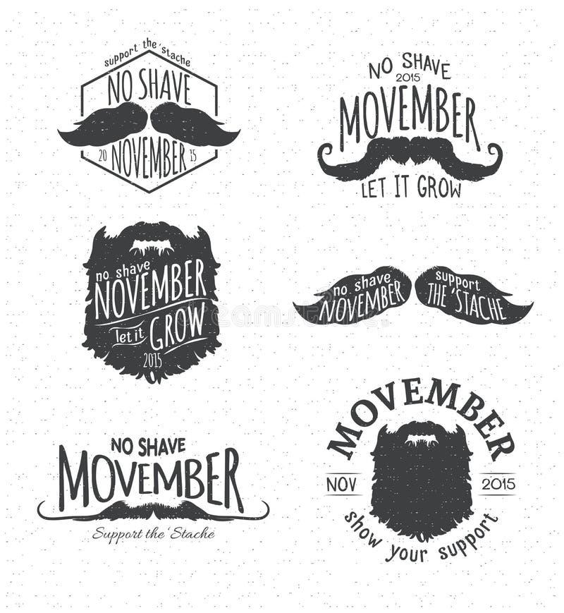 Insignias for No Shave November. Retro Vintage Insignias for No Shave November - Movember vector illustration