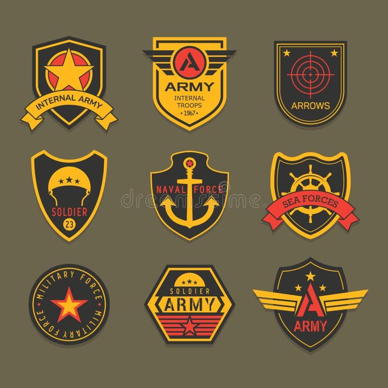 Insignias o insignia militares del ejército, soldado americano ilustración del vector