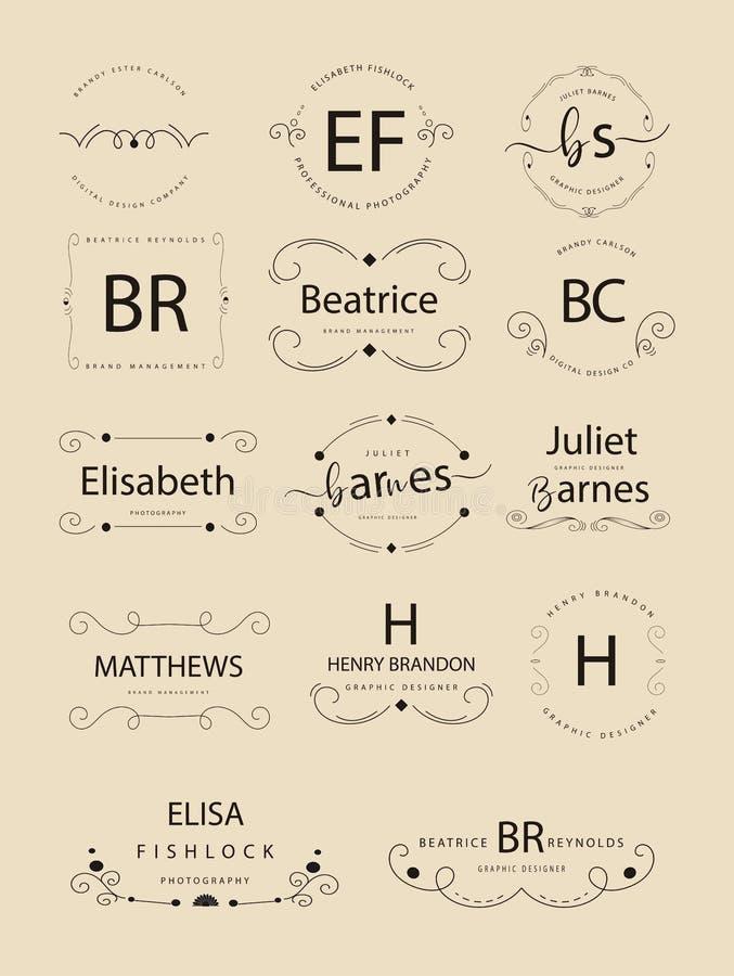 Insignias o logotipos retros del vintage fijados Vector los elementos del diseño, muestras del negocio, logotipos, identidad, eti ilustración del vector