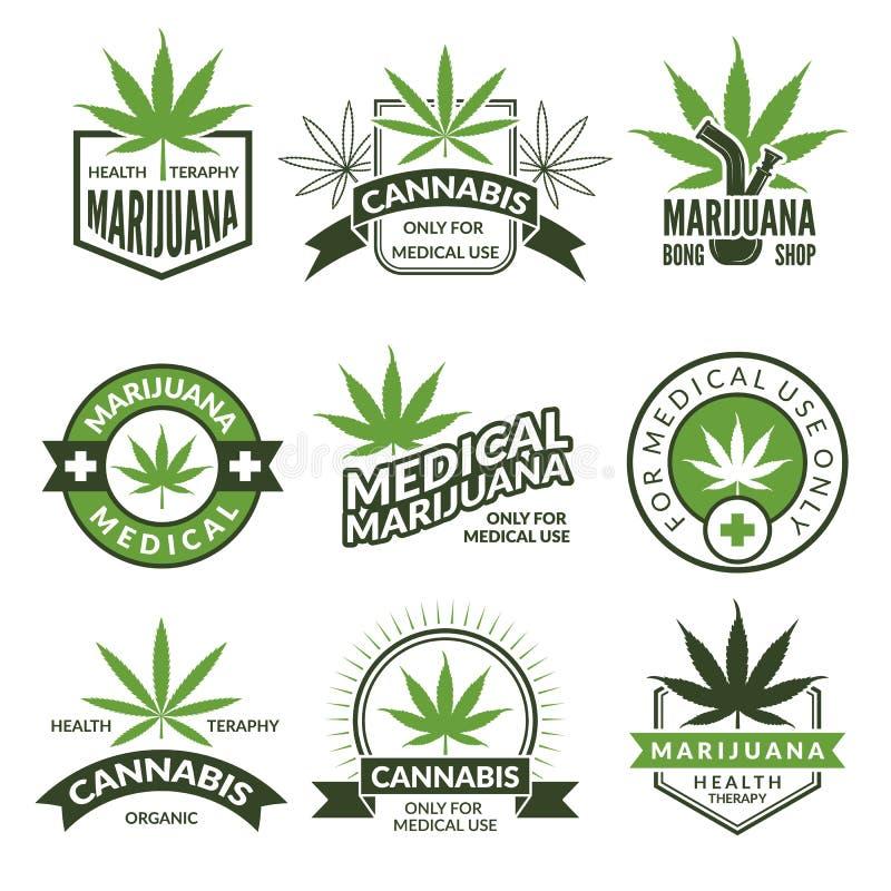 Insignias o sistema de etiquetas médicas Ejemplos monocromáticos de canabis y de la marijuana ilustración del vector