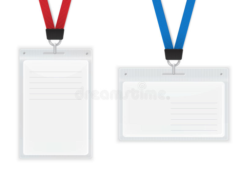 Insignias plásticas de la identificación. stock de ilustración