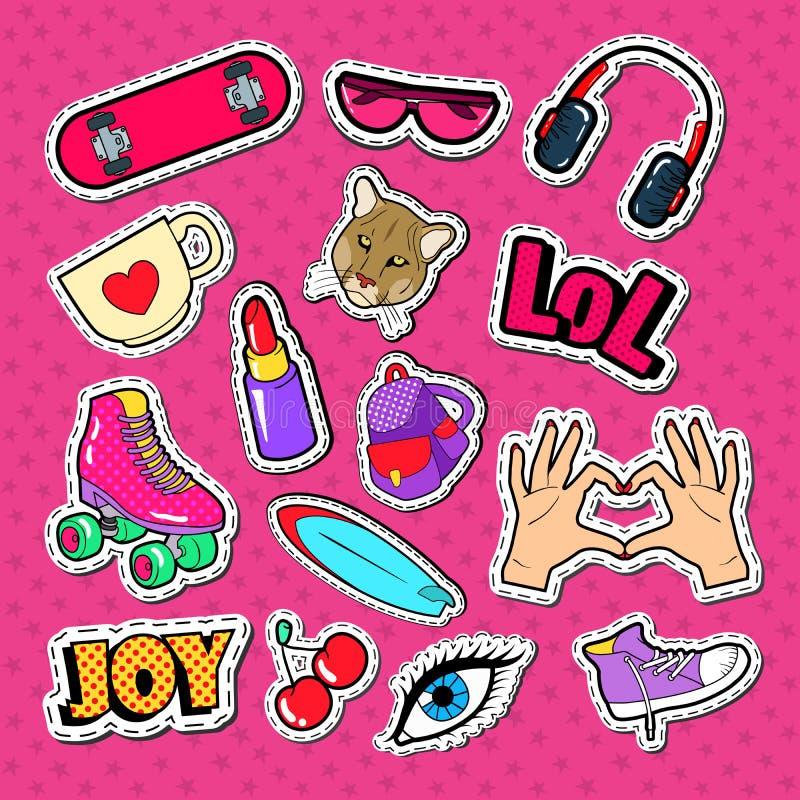 Insignias, remiendos y etiquetas engomadas de la moda de la muchacha del adolescente Garabato de niña del estilo con el lápiz lab libre illustration
