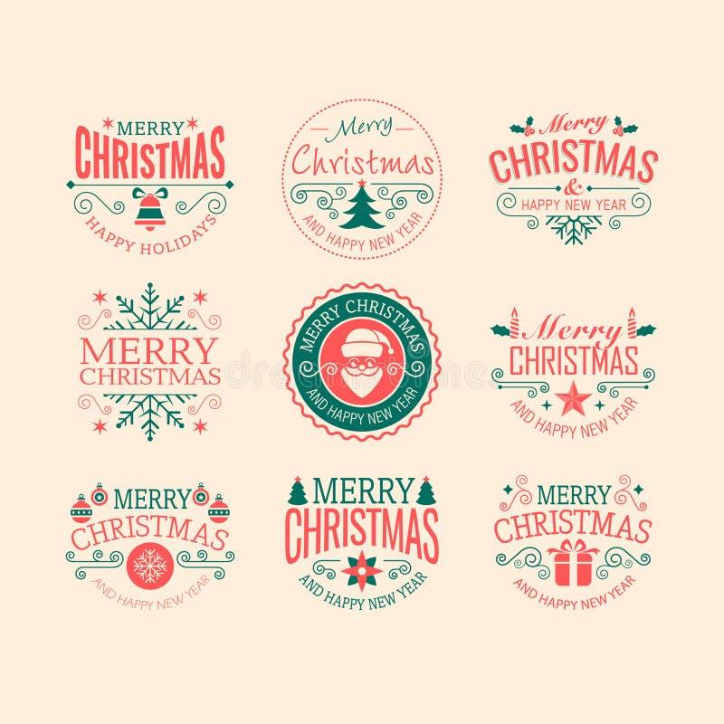 Insignias retras de la Navidad fotografía de archivo