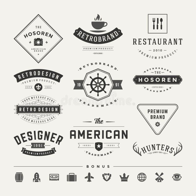 Insignias retras del vintage o vector fijado logotipos fotografía de archivo