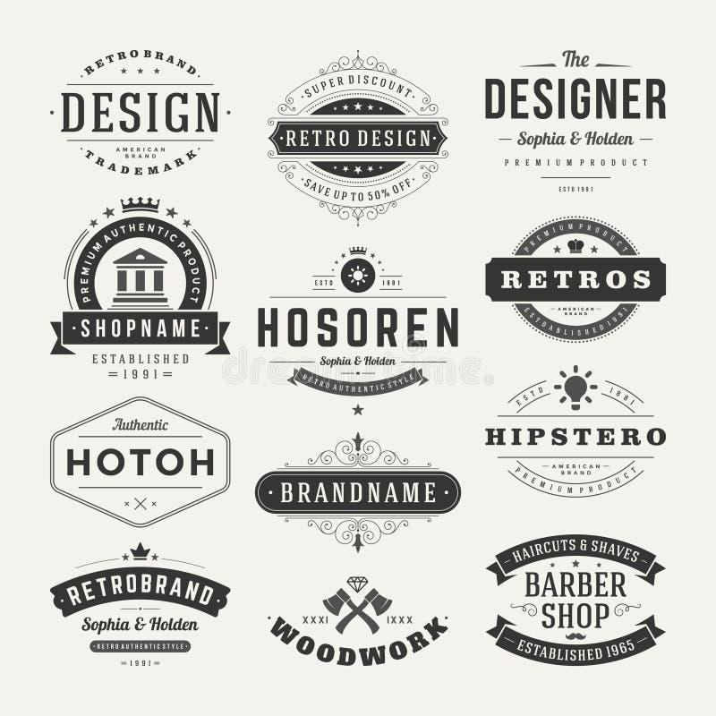 Insignias retras del vintage o vector fijado logotipos imagenes de archivo