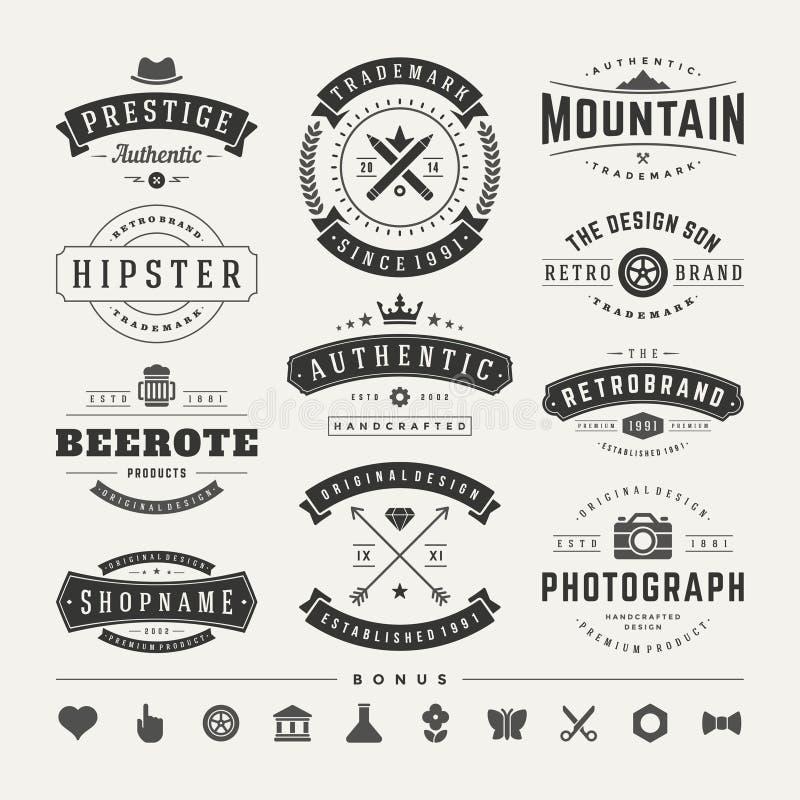 Insignias retras del vintage o vector fijado logotipos imagen de archivo libre de regalías