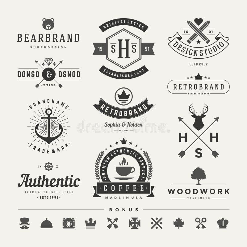 Insignias retras del vintage o vector fijado logotipos ilustración del vector