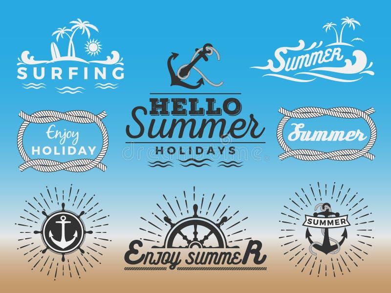 Insignias retras por vacaciones de verano y náutico modernos libre illustration