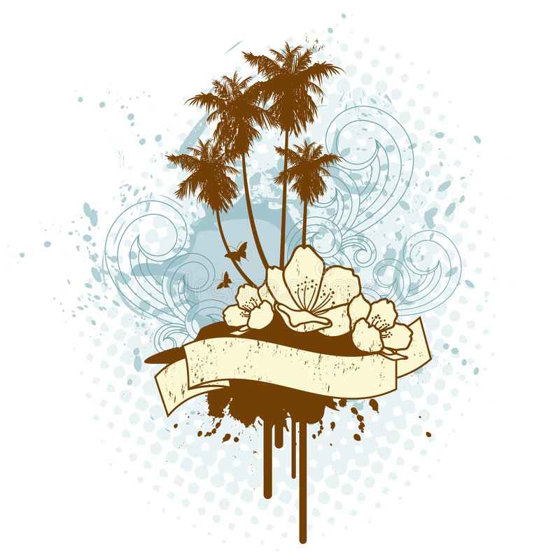 Insignias tropicales retras de la isla stock de ilustración