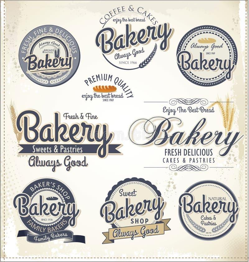 Insignias y etiquetas retras de la panadería ilustración del vector