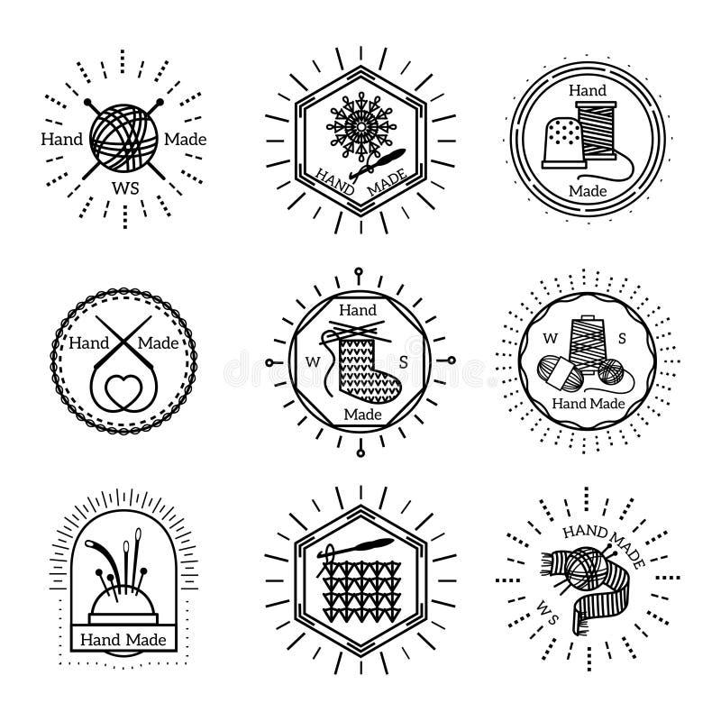 Insignias y logotipo hechos a mano del vintage stock de ilustración