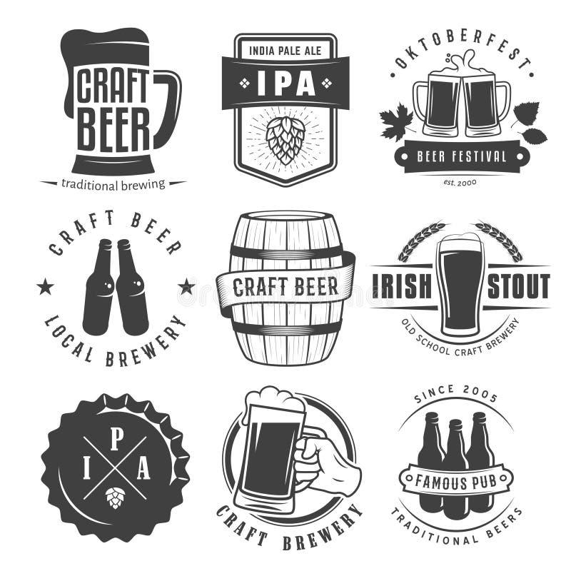 Insignias y logotipos de la cerveza del arte del vector foto de archivo libre de regalías