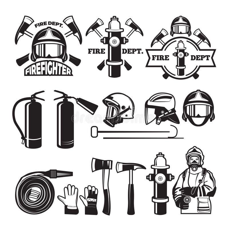 Insignias y sistema de etiquetas para el cuerpo de bomberos libre illustration