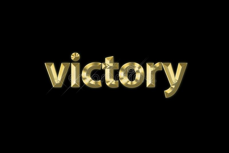 inskrift 3d i guld ordet 'seger 'som isoleras på en svart bakgrund royaltyfri illustrationer