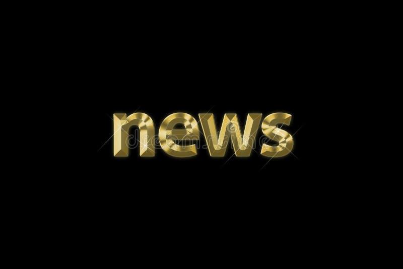 inskrift 3d news i för guld- bokstäver som 'isoleras på svart bakgrund royaltyfri illustrationer