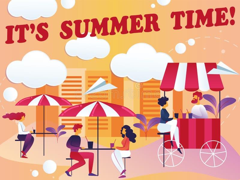 Inskrift dess illustration för sommarTid vektor royaltyfri illustrationer