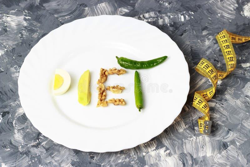 Inskrift Diet som göras av muttrar, ägg och avokadot härlig bukbegreppsförlust över viktwhitekvinna royaltyfri bild