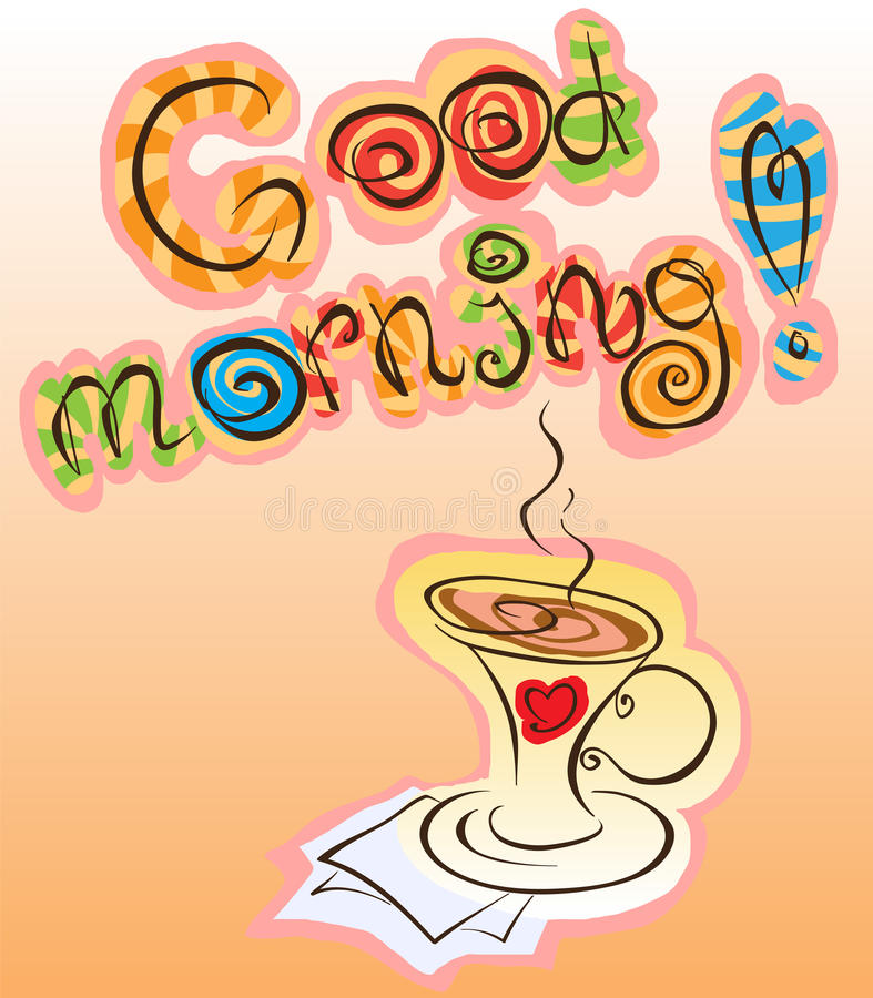Inskrift för bra morgon royaltyfri illustrationer