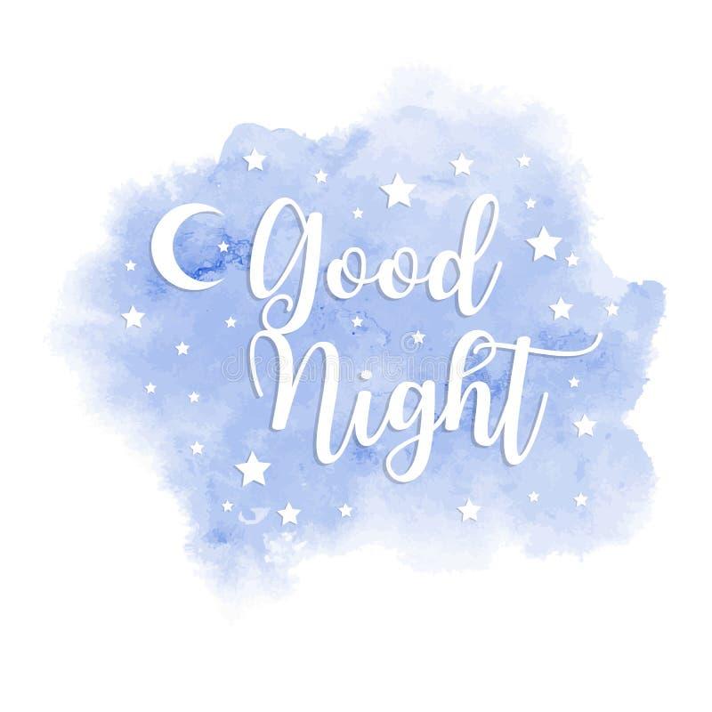 Inskrift för bra natt på blå fläck för vattenfärg Mall för vykort eller baner också vektor för coreldrawillustration royaltyfri illustrationer