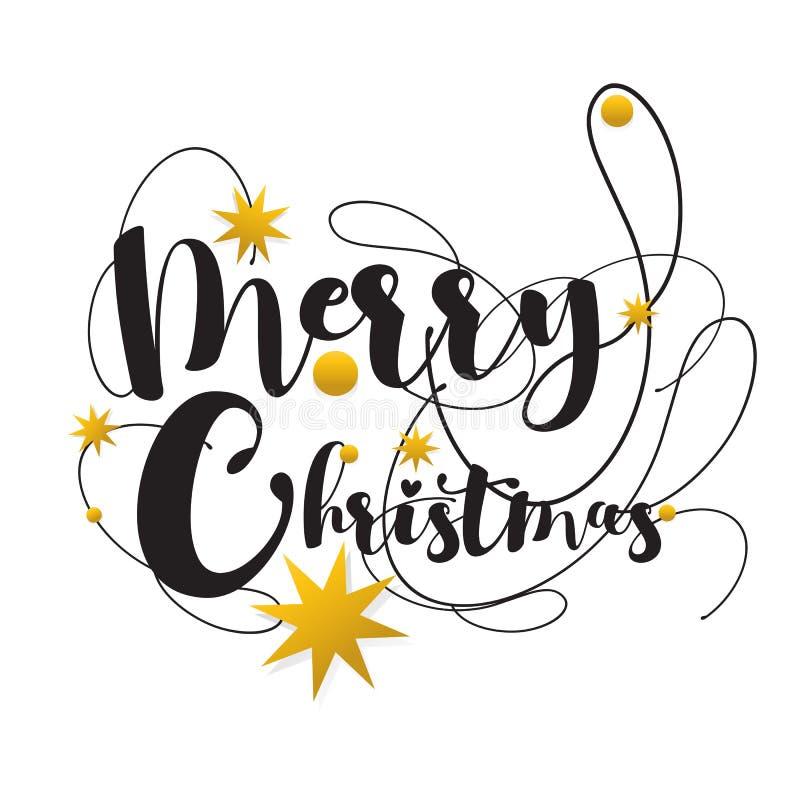 Inskrift för glad jul för stilsort som Calligraphic dekoreras med Gol vektor illustrationer