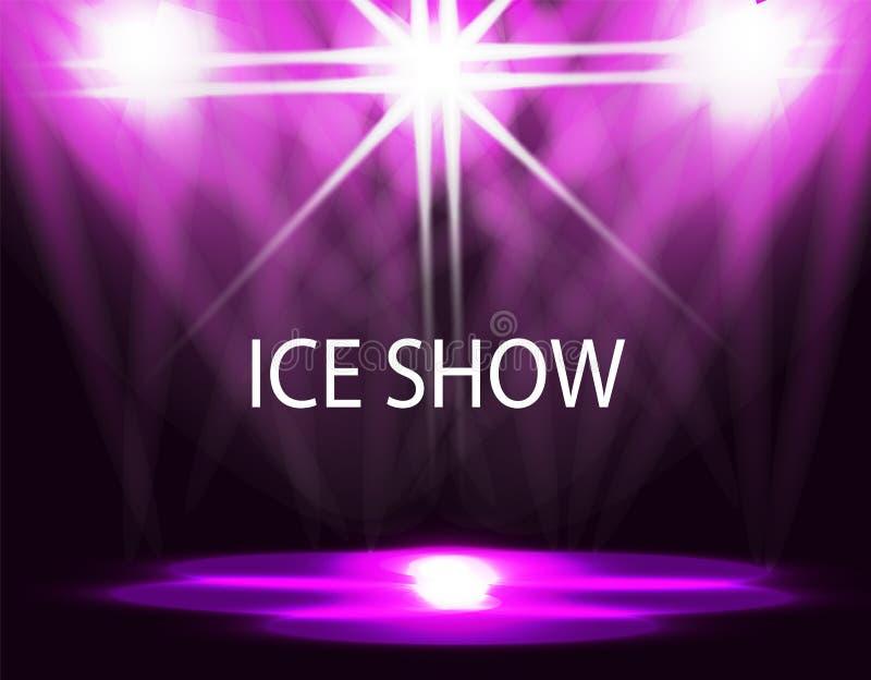 Inskrift för isshow Belysning av isbanan, catwalk, flodljus Abstrakt begrepp Purpurfärgad bakgrund illustration royaltyfri illustrationer
