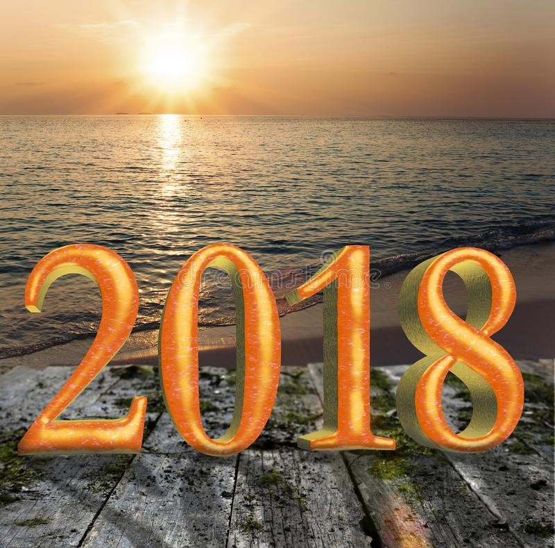 Inskrift 2018 för nytt år på trävägen över havet fotografering för bildbyråer