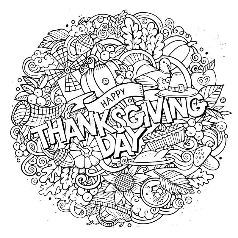 Inskrift för tacksägelse för klotter för tecknad film gullig hand dragen stock illustrationer