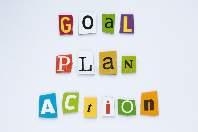 Inskrift - målplanhandling Ett begrepp för visning för ordhandstiltext av begreppet för vision för målplanhandling royaltyfri bild