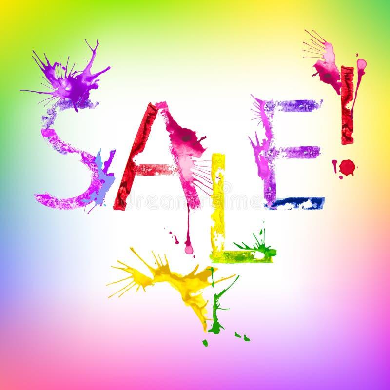 Inskrift Sale för vektormålarfärgfärgstänk stock illustrationer