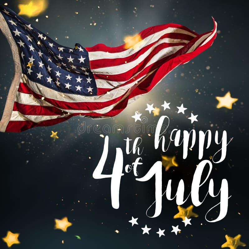 Inskrift som är lycklig 4th Juli med USA flaggan royaltyfri illustrationer