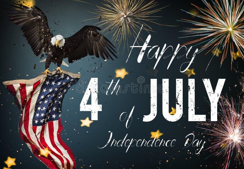 Inskrift som är lycklig 4th Juli med USA flaggan vektor illustrationer
