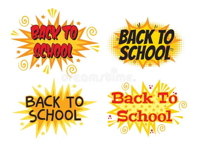 Inskrift tillbaka till skolan Explosion med komisk stil Uppsättning stock illustrationer