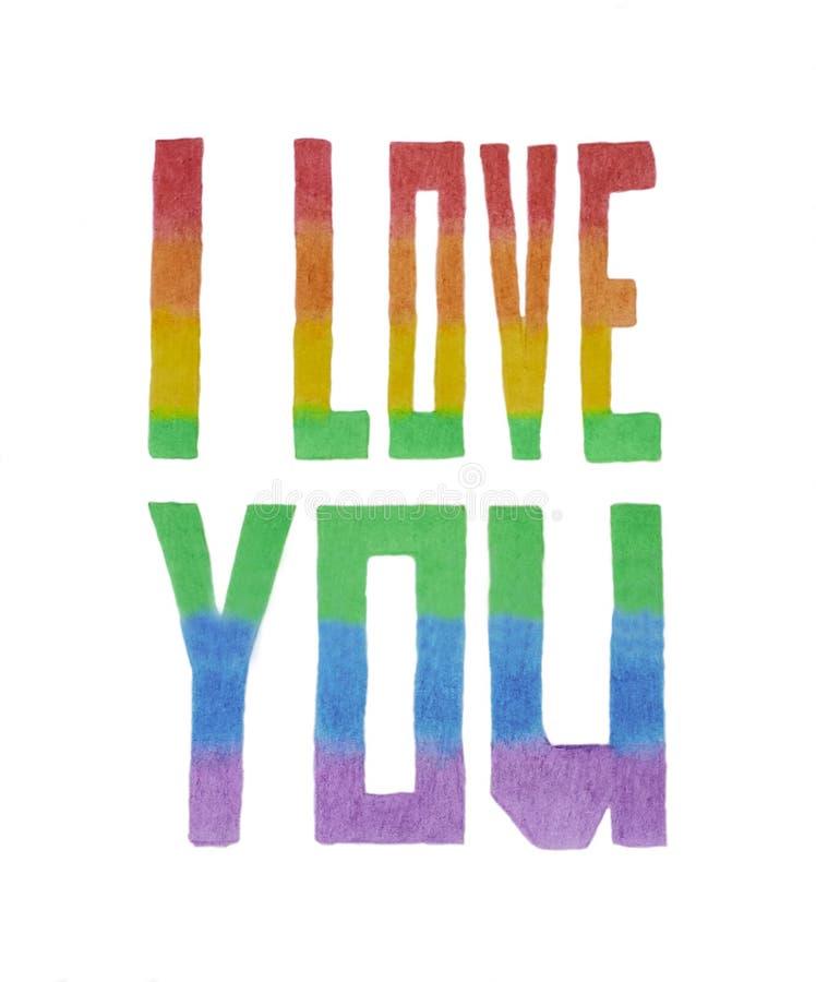 Inskriften 'älskar jag dig ', gjort av kulöra blyertspennor på en vit bakgrund, i färgerna av flaggan av LGBTEN royaltyfri fotografi